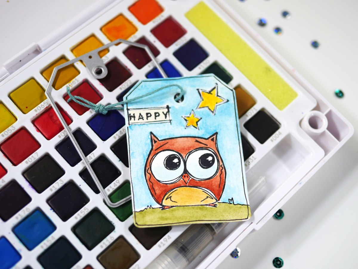 Technique Friday –– Watercolor Owl Tag